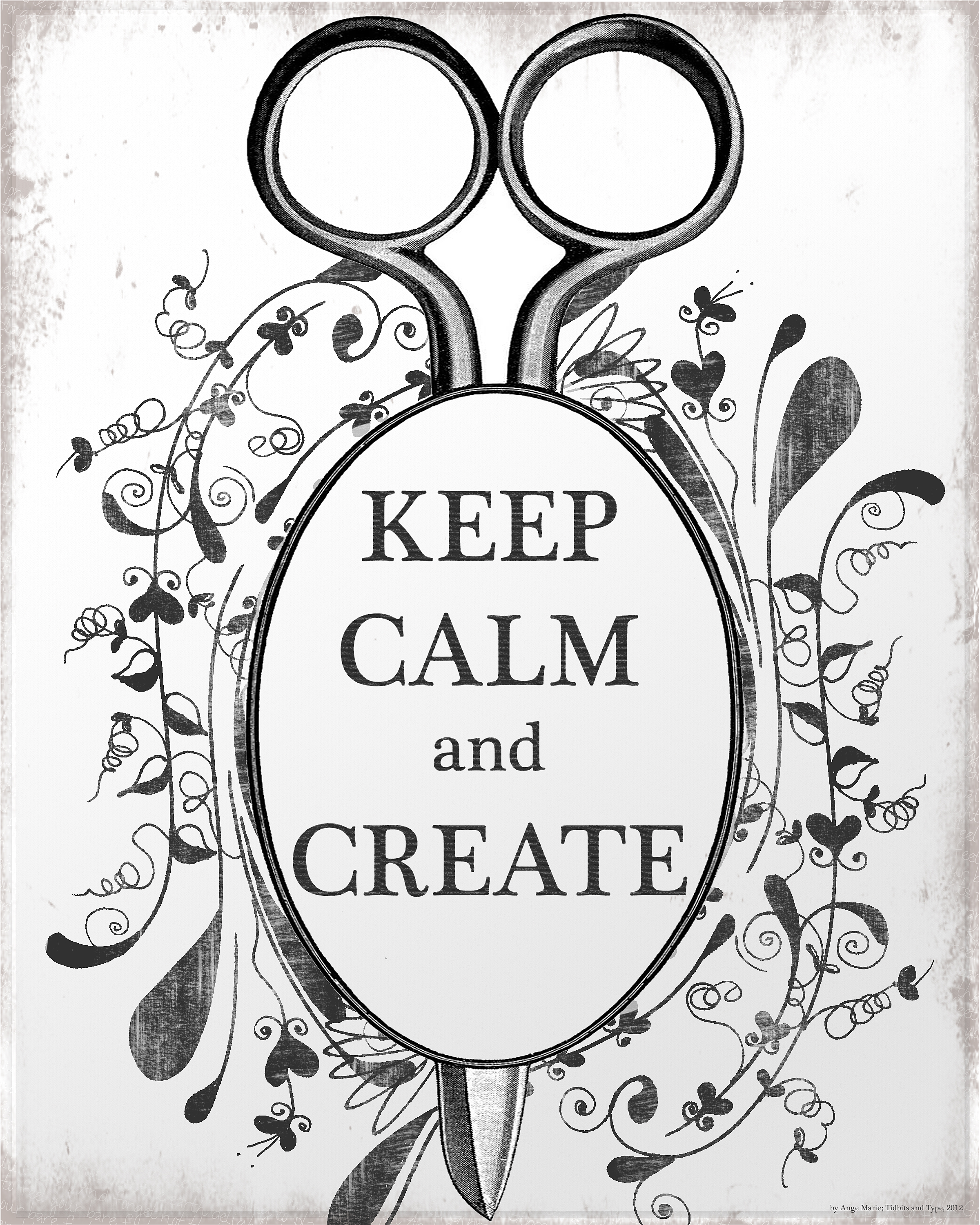 free digital art keep calm and create tidbits and type